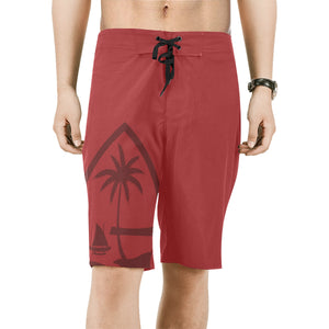 Guam Seal Mens Red All Over Print Board Shorts Size 3XL - Ready to Ship