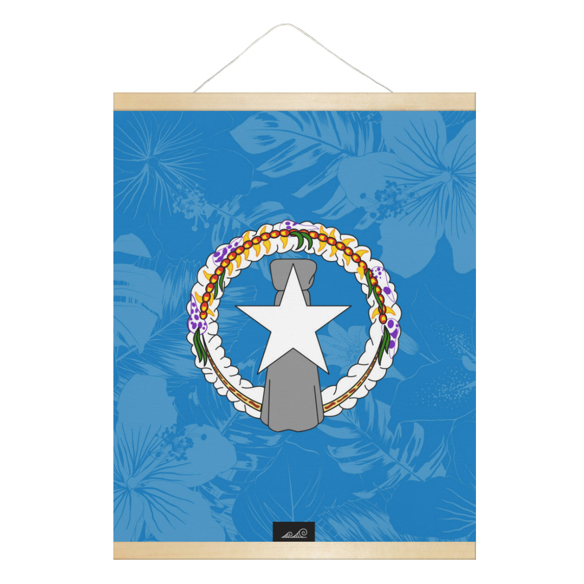 CNMI Floral Flag Hanging Canvas Poster with Wood Frame