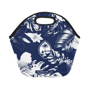 Guam Blue Floral Neoprene Lunch Bag Small