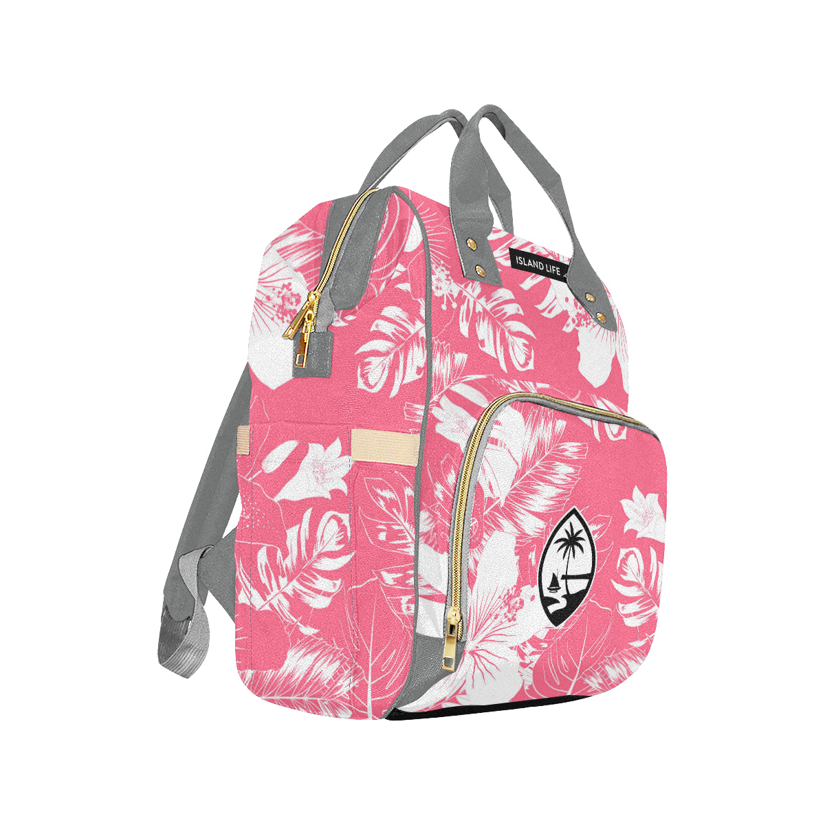 Guam Pink Floral Baby Diaper Backpack Bag