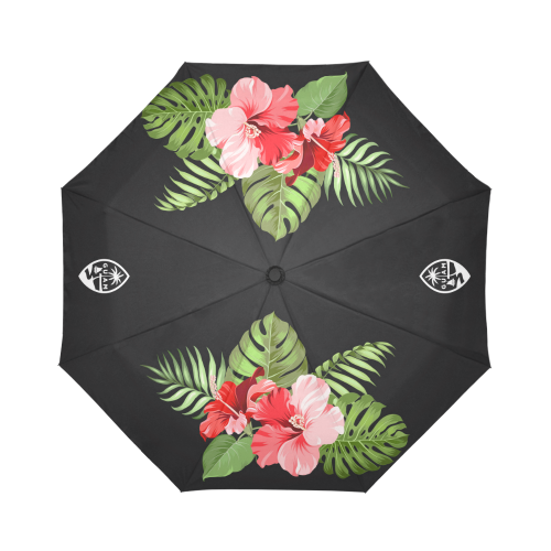 Guam Seal Hibiscus Black Automatic Folding Umbrella