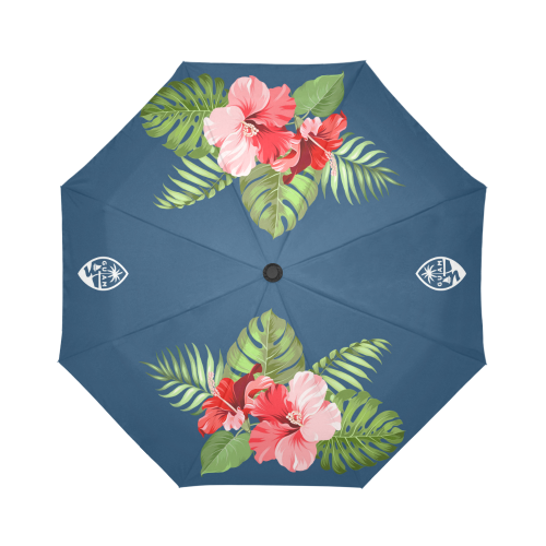 Guam Seal Hibiscus Navy Blue Automatic Folding Umbrella