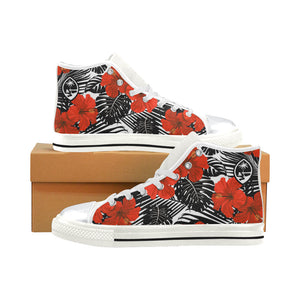 Guam Red Black Hibiscus High Top Shoe Kids