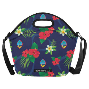 Guam Flag Flowers Neoprene Lunch Bag Large