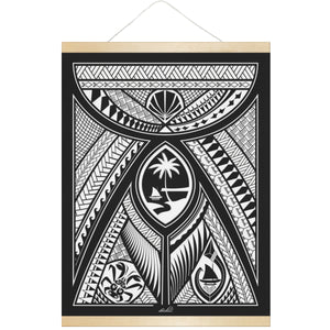 Guahan Modern Tribal Hanging Canvas Poster with Wood Frame