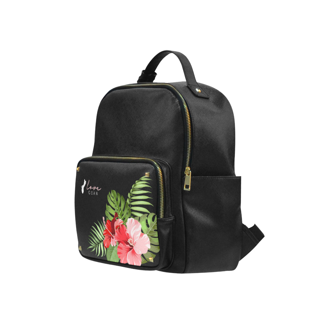 Love Guam Red Hibicus Black Campus Backpack Small