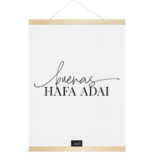 Buenas Hafa Adai Guam CNMI Hanging Canvas Poster with Wood Frame