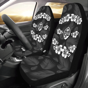 Guam Seal Gray Black Hibiscus Car Seat Cover with Express Shipping (Set of 2)