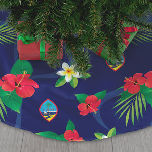 Guam Flag Flowers Christmas Tree Skirt