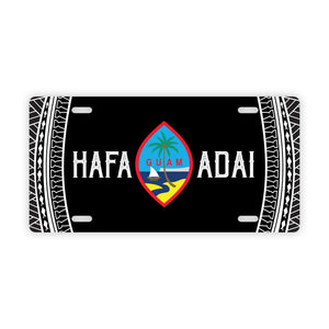 Hafa Adai Guam Tribal Black Car License Plate