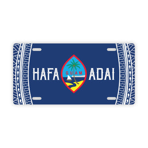 Hafa Adai Guam Tribal Blue Car License Plate