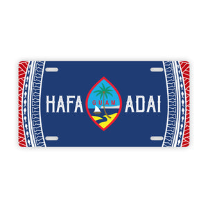 Hafa Adai Guam Tribal Red White Blue Car License Plate