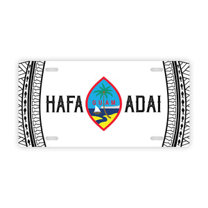Hafa Adai Guam Tribal White Car License Plate