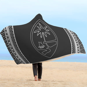 Guam Outline Tribal Black Hooded Blanket