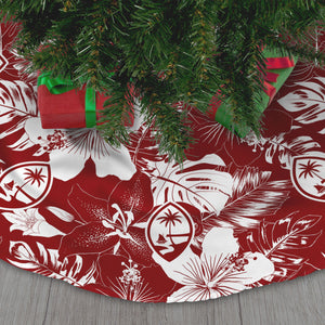 Guam Red Hibiscus Christmas Tree Skirt