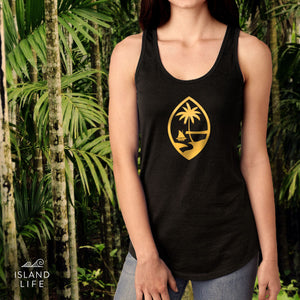 Gold Foil Guam Seal Black Racerback Tank Top
