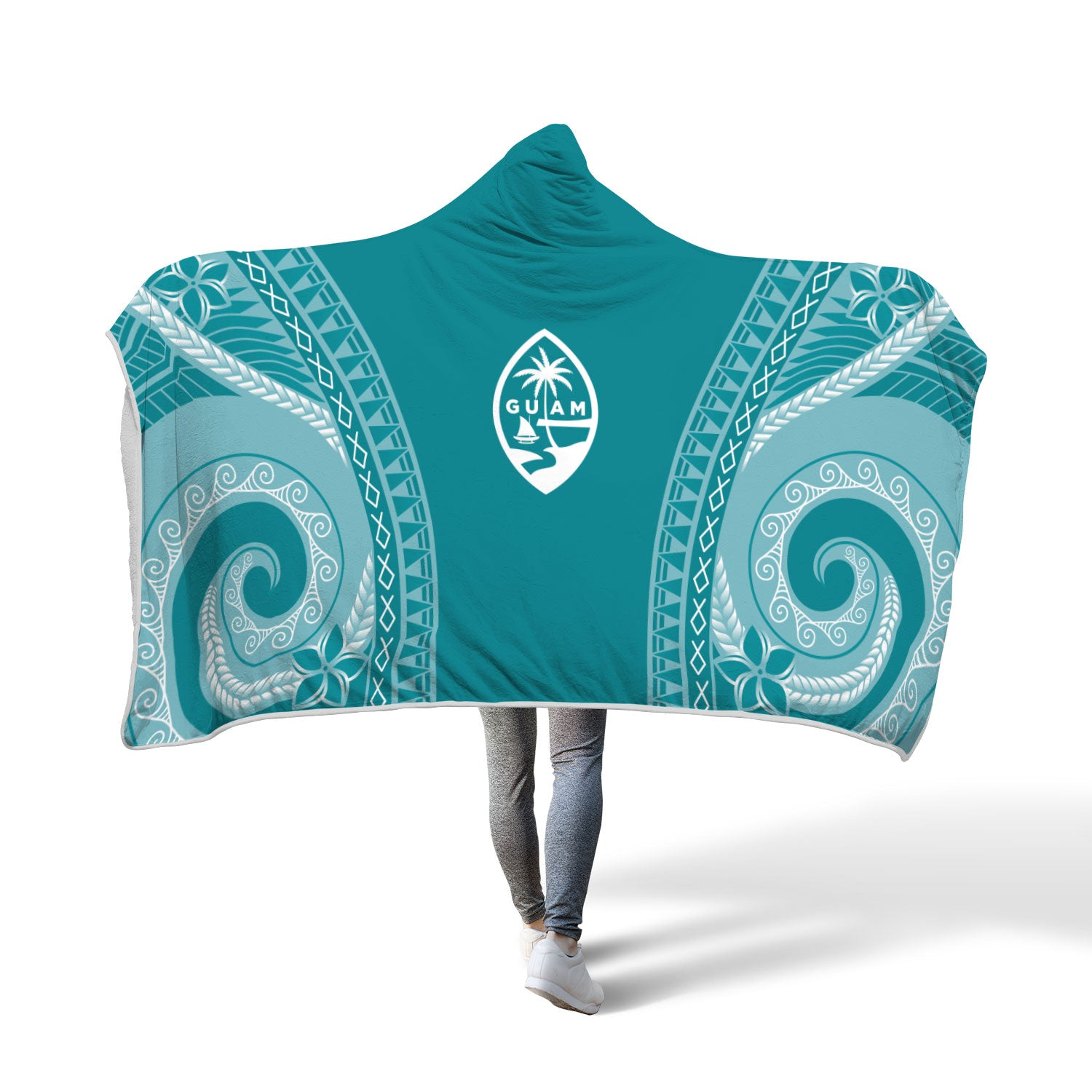 Guam Seal Chamorro Tribal Blue Hooded Blanket