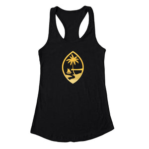 Gold Foil Guam Seal Black Racerback Tank Top - Ready to Ship