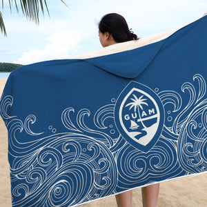 Guam Seal Hand Drawn Waves Hooded Blanket