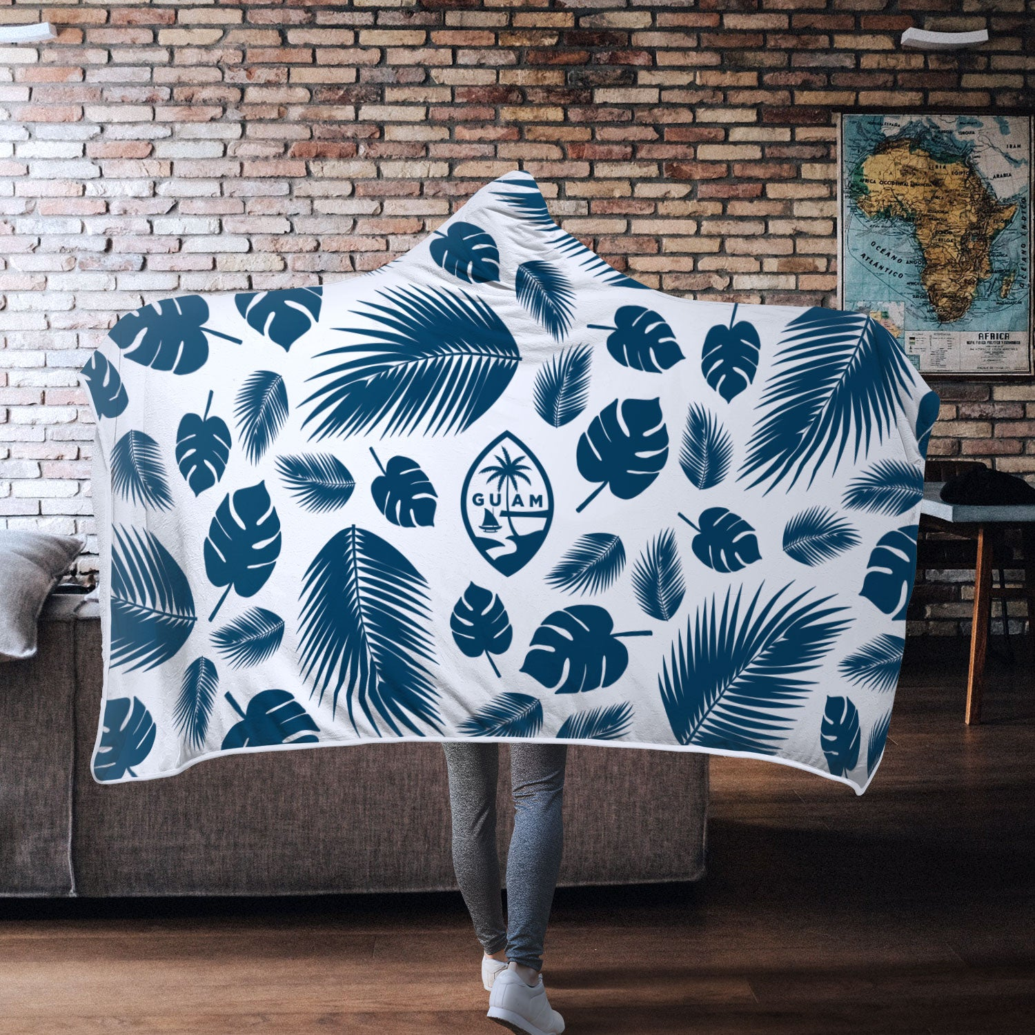 Guam Seal Island Pattern Chamorro White Hooded Blanket