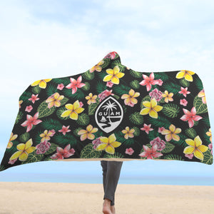 Jungle Flowers Guam Seal Hooded Blanket