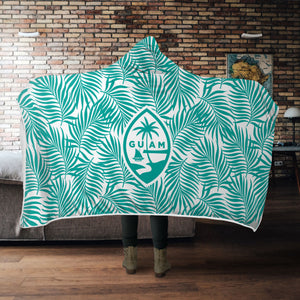 Guam Seal Coconut Leaves Teal Hooded Blanket
