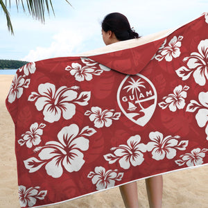 Guam Seal Red Hibiscus Chamorro Hooded Blanket