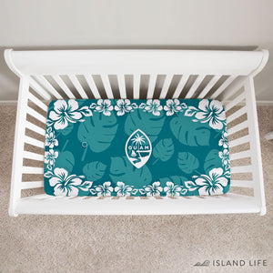 Guam Seal Teal Hibiscus Baby Crib Sheet
