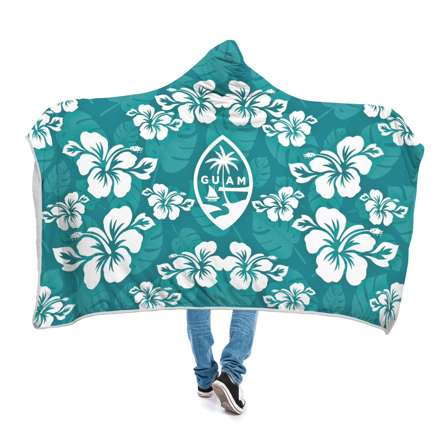Guam Seal Teal Hibiscus Chamorro Custom Sherpa Hooded Blanket