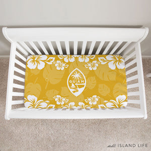 Guam Seal Yellow Gold Hibiscus Baby Crib Sheet