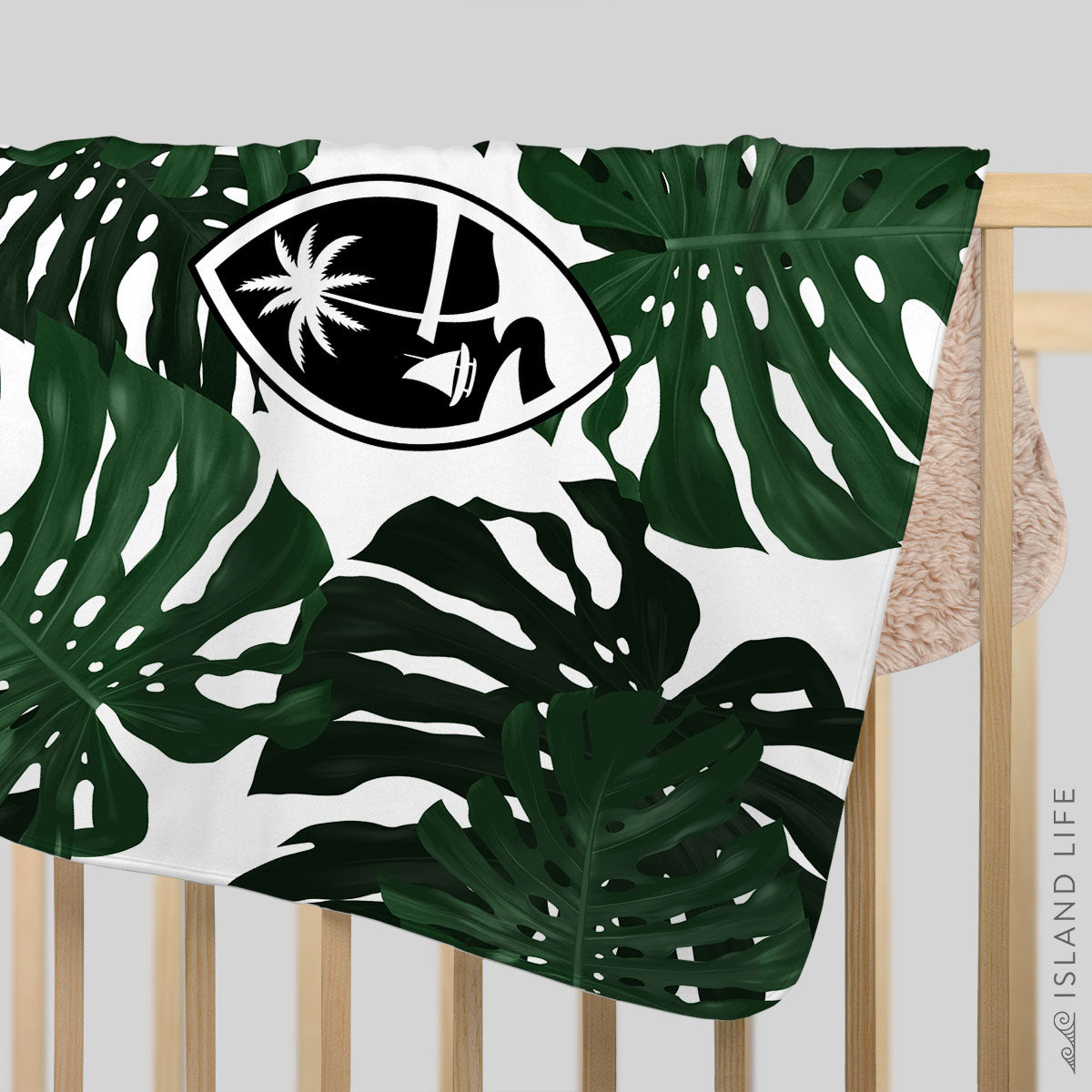 Guam Lemai Leaves Baby Sherpa Blanket