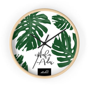Hafa Adai Lemai Leaves Wall Clock