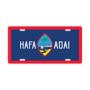 Hafa Adai Guam Flag Car License Plate