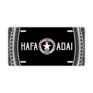Hafa Adai Tribal Black CNMI Saipan Tinian Rota Car License Plate