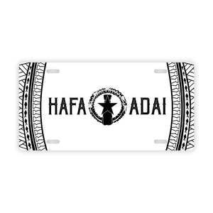 Hafa Adai Tribal White CNMI Saipan Tinian Rota Car License Plate