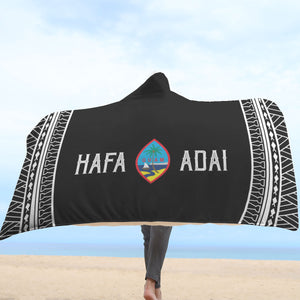 Hafa Adai Guam Tribal Black Hooded Blanket