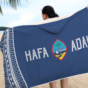 Hafa Adai Guam Tribal Blue Hooded Blanket