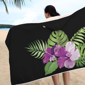 Love Guam Hibiscus Purple Hooded Blanket