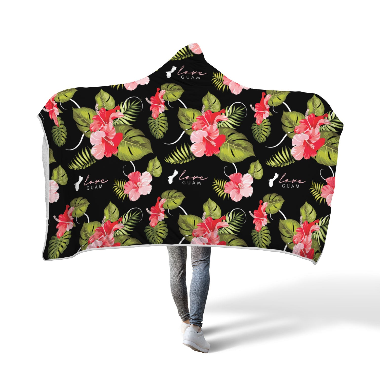 Love Guam Red Hibiscus Hooded Blanket