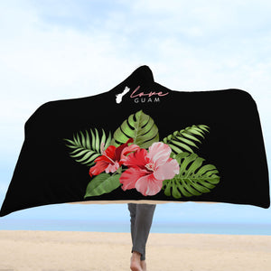 Love Guam Hibiscus Red Hooded Blanket