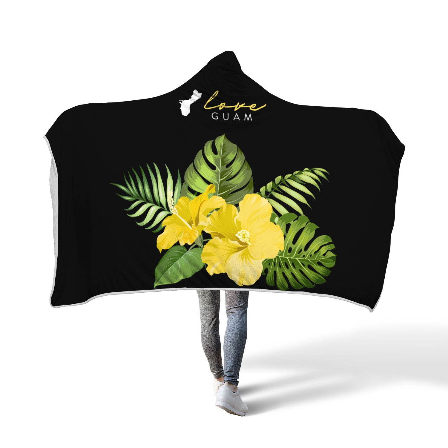 Love Guam Hibiscus Yellow Hooded Blanket