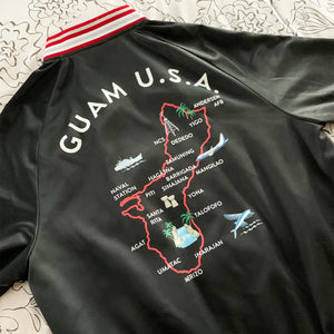Guam Map Women's Red Striped Bomber Jacket