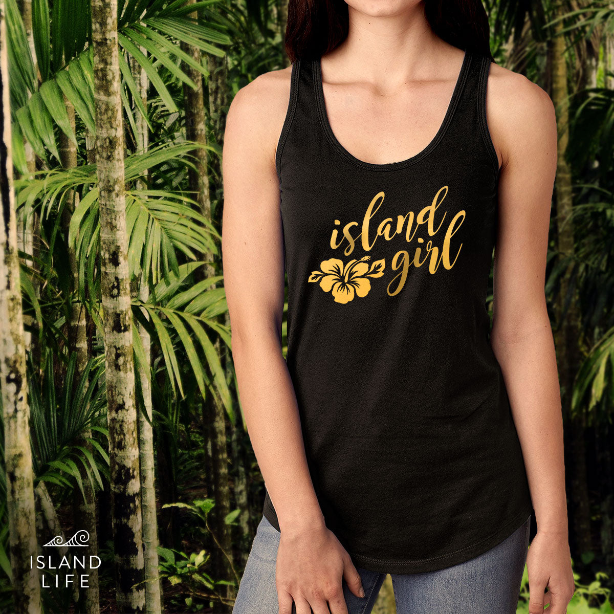 Island Girl Gold Foil Black Racerback Tank Top