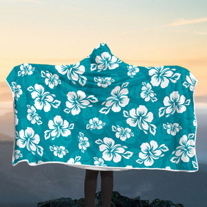 Teal Hibiscus Island Hooded Blanket
