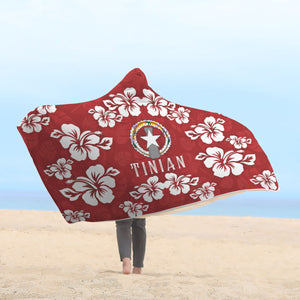 Tinian CNMI Red Hibiscus Chamorro Hooded Blanket