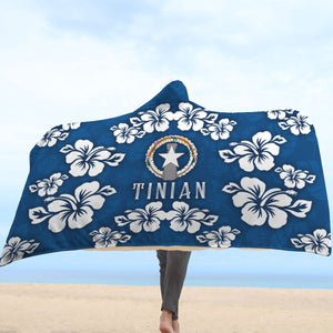 Tinian CNMI Navy Hibiscus Chamorro Hooded Blanket