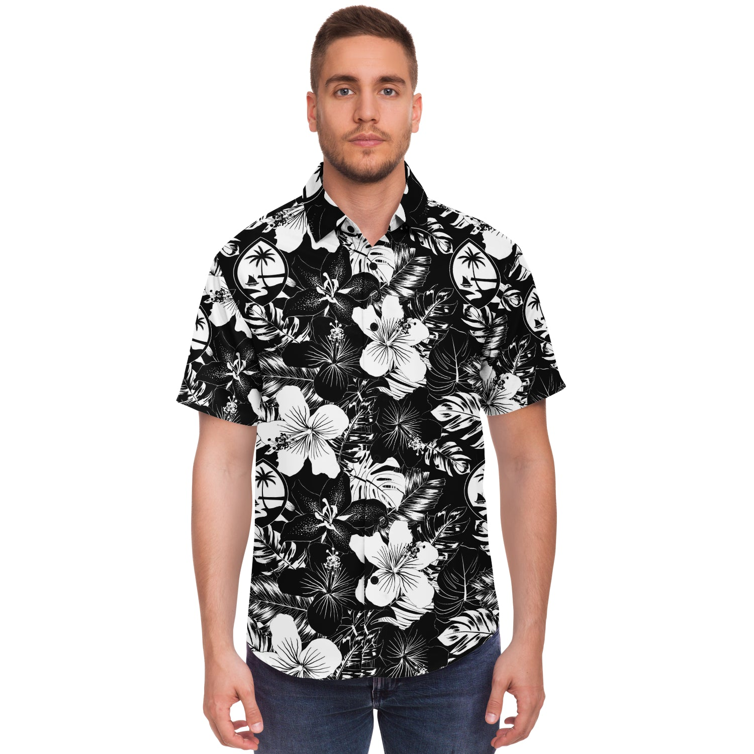Guam Black Hibiscus Button Down Shirt