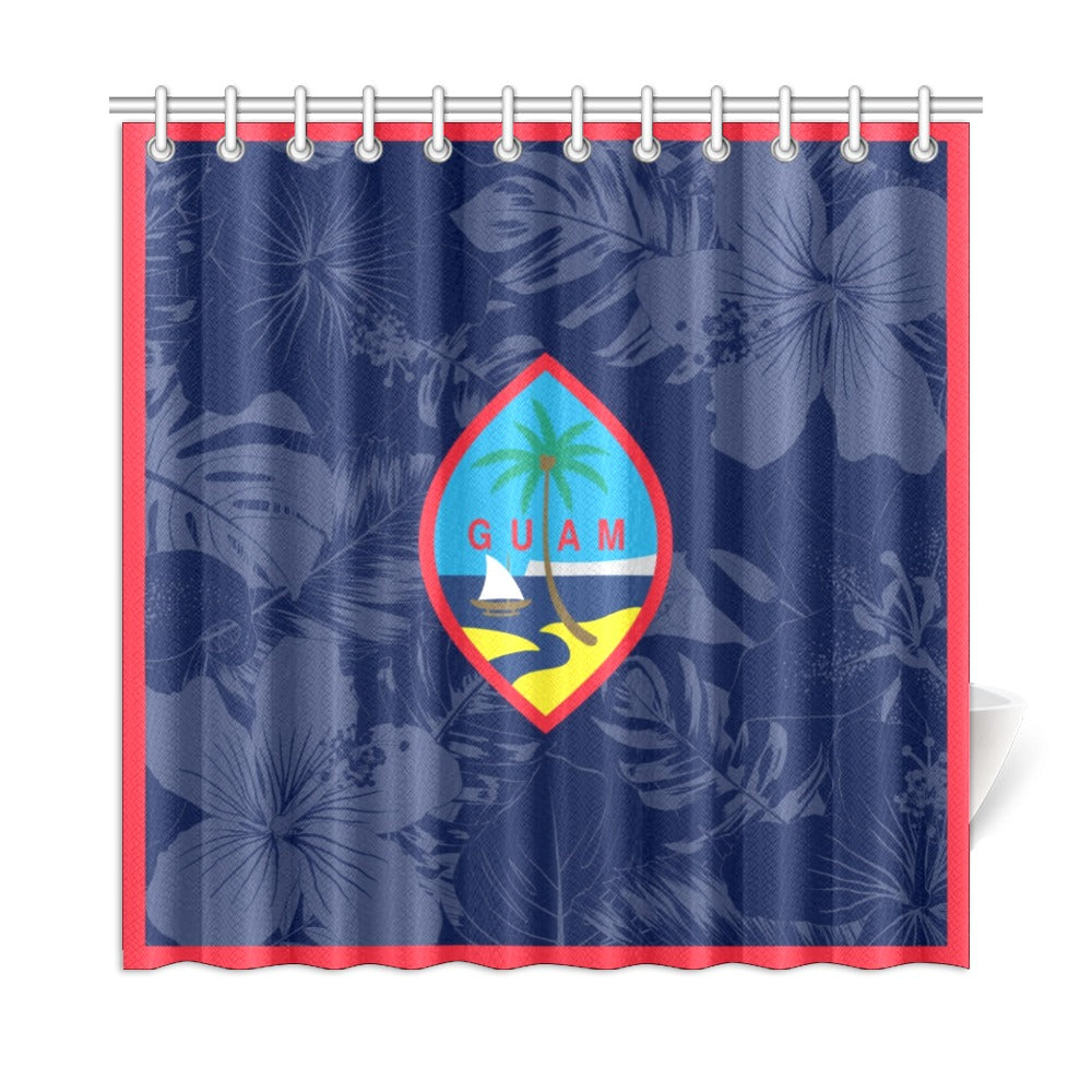 "Guam Flag Floral Shower Curtain 72""x72"""