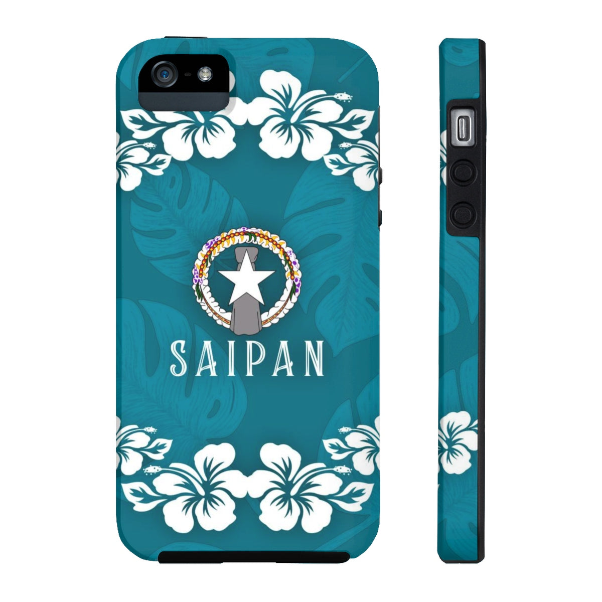 Saipan CNMI Teal Blue Hibiscus Tough Phone Case