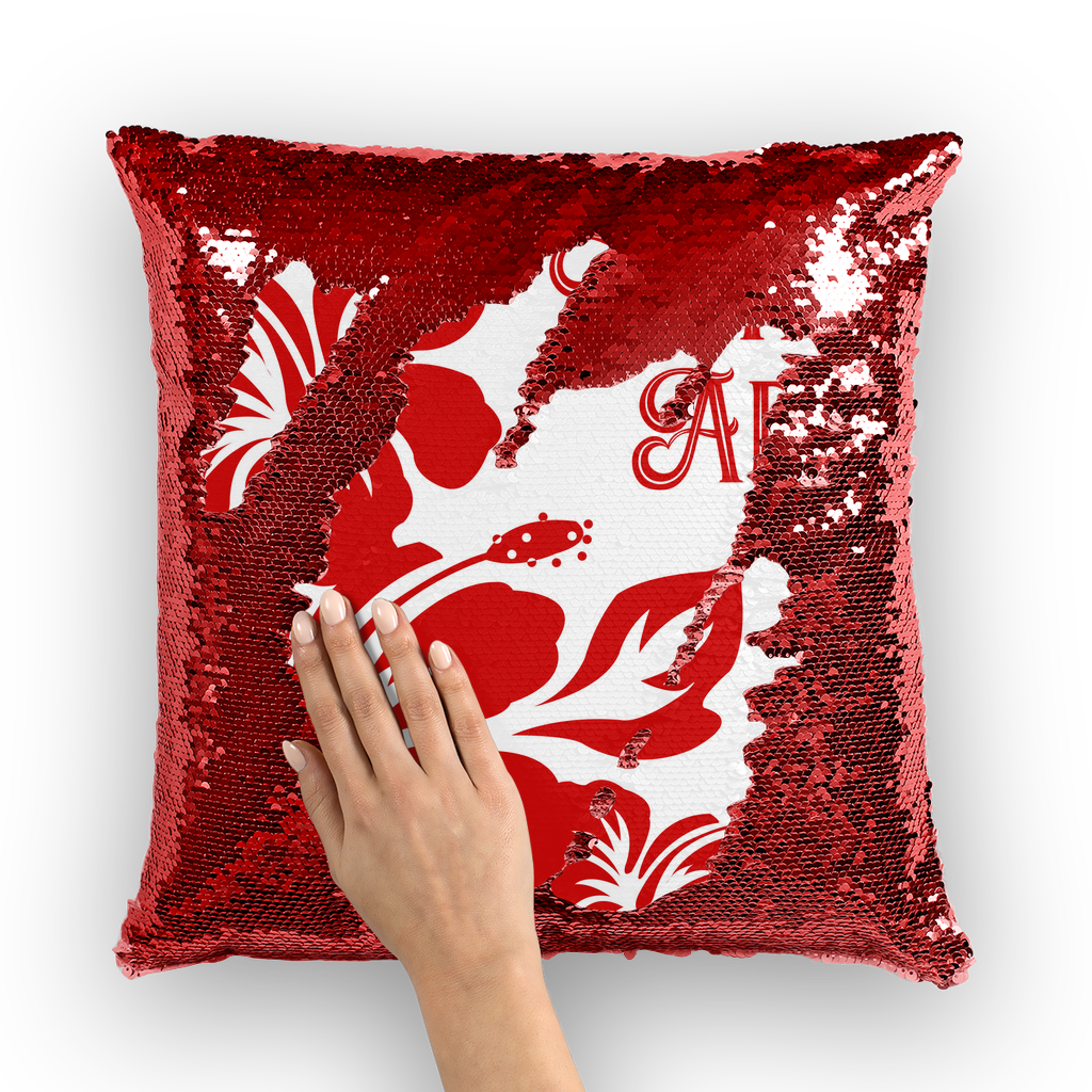 Hafa Adai Red Hibiscus Sequin Cushion Cover Guam Saipan Tinian Rota